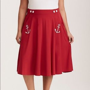 Torrid Retro Sailor Pin Up Red Anchor Skirt NEW